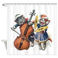 Kittens Sing Christmas Carols Shower Curtain