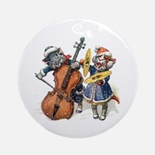 Kittens Sing Christmas Carols Ornament (Round)