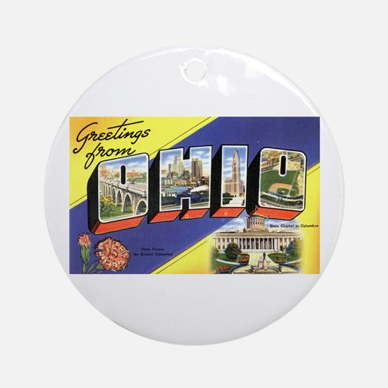 Greetings from Ohio Ornament (Round)
