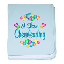 I Love Cheerleading baby blanket