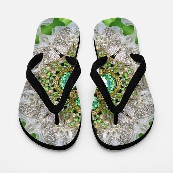 green diamond bling Flip Flops