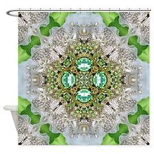 green diamond bling Shower Curtain