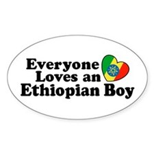 Everyone Loves an Ethiopian Boy Oval Decal