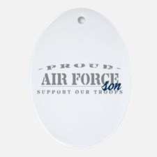 Proud Air Force Son (Blue) Oval Ornament