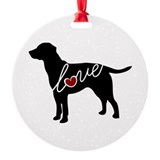 Black lab Round Ornament