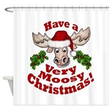 Moosy Christmas Shower Curtain