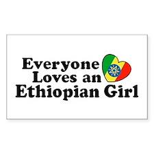 Everyone Loves an Ethiopian Girl Sticker (Rectangu