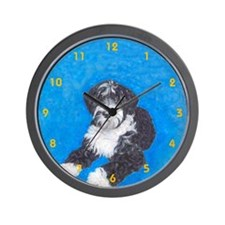 Potuguese Water Dog Bl WH 2 Wall Clock