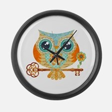 Owls Summer Love Letters Large Wall Clock