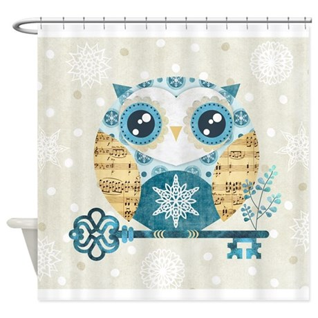 winter wonderland owl shower curtain by admin cp6065845
