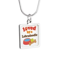 Loved By A Labradoodle Silver Square Necklace