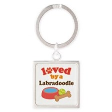 Loved By A Labradoodle Square Keychain