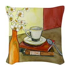 Caffeine and Books Woven Throw Pillow