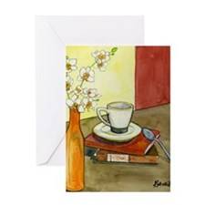 Caffeine and Books Greeting Cards