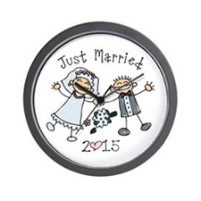 Stick Just Married 2015 Wall Clock