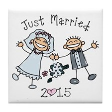 Stick Just Married 2015 Tile Coaster