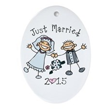 Stick Just Married 2015 Ornament (Oval)