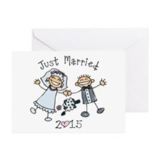 Stick Just Married 2015 Greeting Cards (Pk of 20)
