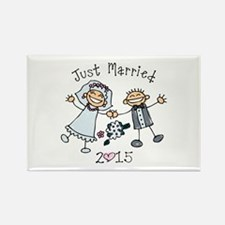 Stick Just Married 2015 Rectangle Magnet