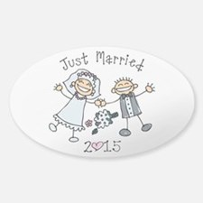 Stick Just Married 2015 Sticker (Oval)