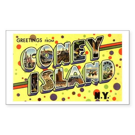 Greetings from Coney Island Rectangle Sticker