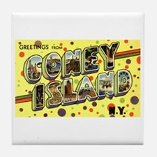 Greetings from Coney Island Tile Coaster