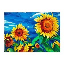 Sunflowers Painting 5'x7'Area Rug