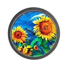 Sunflowers Painting Wall Clock