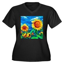 Sunflowers Painting Plus Size T-Shirt