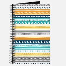 Yellow Blue Grey Geometric Vintage Stripes Journal