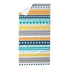 Yellow Blue Grey Geometric Vintage Str Beach Towel