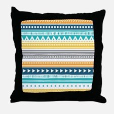 Yellow Blue Grey Geometric Vintage St Throw Pillow
