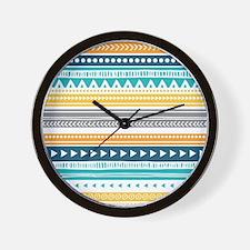 Yellow Blue Grey Geometric Vintage Stri Wall Clock