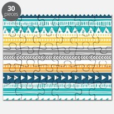 Yellow Blue Grey Geometric Vintage Stripes Puzzle