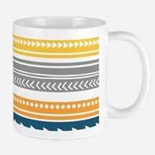 Yellow Blue Grey Geometric Vintage Stri Mug