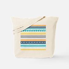 Yellow Blue Grey Geometric Vintage Stripe Tote Bag