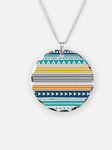 Yellow Blue Grey Geometric V Necklace