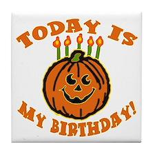 My Halloween Birthday Tile Coaster