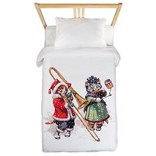 Kittens Play Music In the Snow Twin Duvet
