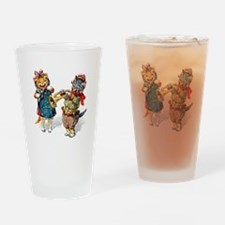 Kittens Play Music In the Snow Drinking Glass