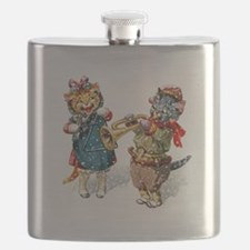 Kittens Play Music In the Snow Flask