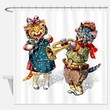 Kittens Play Music In the Snow Shower Curtain