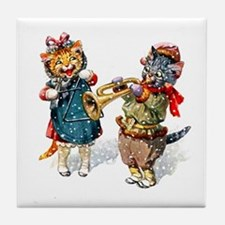 Kittens Play Music In the Snow Tile Coaster