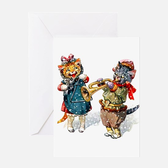 Kittens Play Music In the Snow Greeting Card