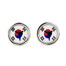 Martial Arts Male Round Cufflinks