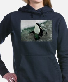Spy Hopping Orca Whale Women's Hooded Sweatshirt