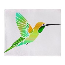 Lemon Lime Sorbet Hummingbird Throw Blanket