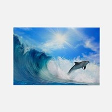 Dolphin Surf Rectangle Magnet