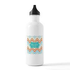 Aqua Grey Orange Chevr Water Bottle