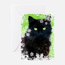 BLACK CAT & SNOWFLAKES Greeting Cards (Pk of 20)